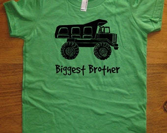 Biggest Brother Dump Truck Shirt - Kids Big Brother T Shirt - 8 Colors - Kids Big Brother T shirt Sizes 2T, 4T, 6, 8, 10, 12 - Gift Friendly
