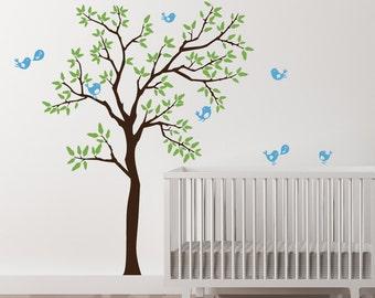 Wall Decals Baby Nursery - Tree Decal Sticker - 7 cute birds nursery decor