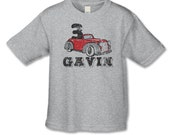 3rd Birthday Shirt -Personalized Vintage Car Shirt -Number 3 Shirt -Car Theme Birthday -Choose your number -Distressed Graphic-Classic Car