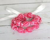 Nursing Necklace in Raspberry Herringbone