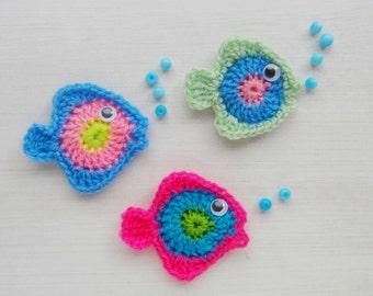 Fish Crochet applique pattern PDF - wall decor, applique crochet pattern - Instant DOWNLOAD