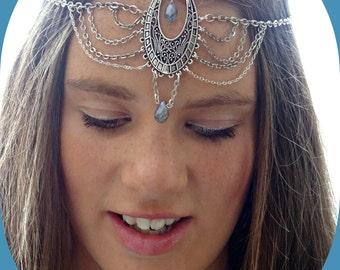 Headpiece Hair Jewelry Festival Headpiece Hair Accessory Blue Head Chain Head Jewelry Chain Head Piece Headband Festival Boho  - Skyane