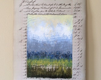 Page 125: Original abstract landscape oil painting on vintage book page beige grey white blue green modern art