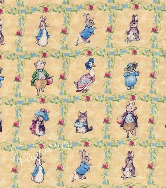 Beatrix potter fabric benjamin bunny lattice baby nursery for Yellow nursery fabric