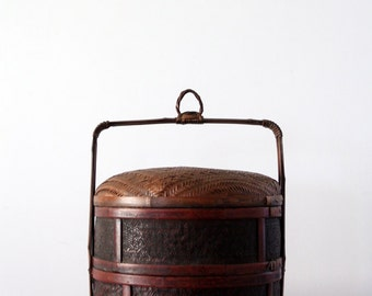 antique Chinese wedding basket, vintage storage basket