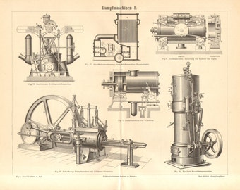 1890 Stationary Steam Engines I. Antique Engraving