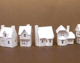 Tiny Village 2013 Pre Cut Kit To Make 8 Miniature Cardstock Buildings 3