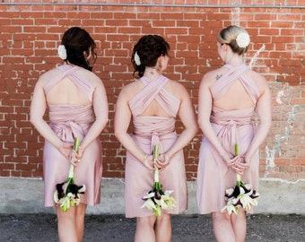 Rose Quartz / Dusty Rose Infinity Convertible Dress Knee Length... Bridesmaids, Special Occasion, Holidays, Prom, Beach, Honeymoon, Vacation