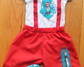 First Birthday Dr. Suess Shorts Matching Onesie Outfit / Shoes Baby Toddler