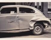Automobile Accident- 1940s Vintage Photograph- Damaged Car- Side-Swiped- Old Photo- 40s Snapshot- Vehicle Crash- Paper Ephemera