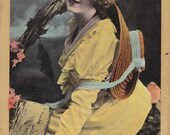 Miss Mabel Green- Edwardian Actress- Glamour Girl- Valentine's Series- 1900s Vintage Postcard- Unused