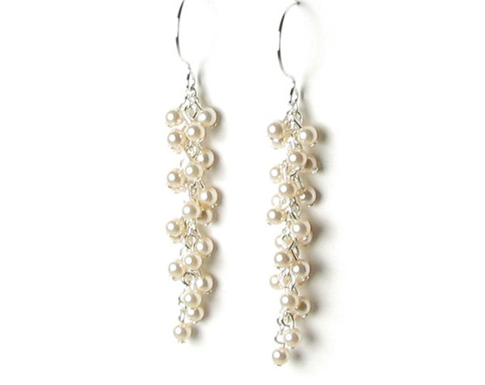 Cream Wedding Swarovski Pearl Cluster Sterling Silver Filled Earrings, Pearl Bridal Jewelry, Ivory Pearl, Romantic Jewelry, Bridesmaid Gift