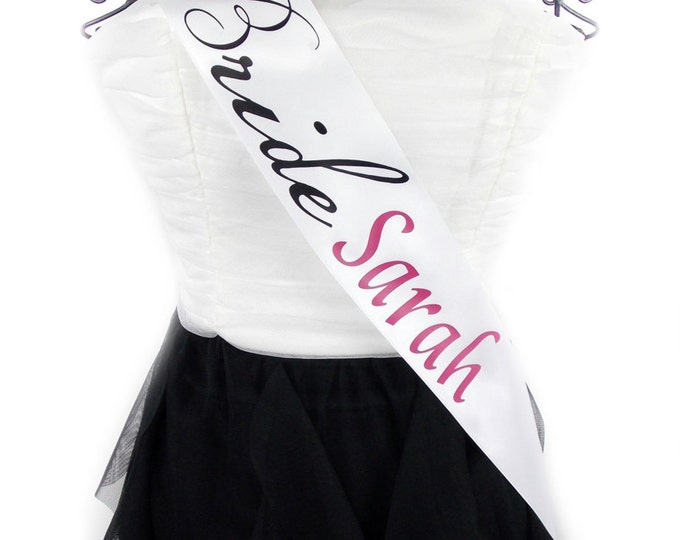 Bachelorette Bride Sash with  Name and Color Personalization