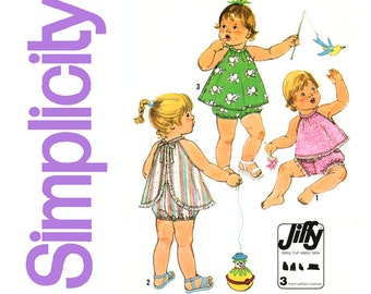 Toddlers Playsuit Pattern Breast 19, 20 Simplicity 8538 1970s Jiffy Sundress and Panties Bloomers Sunsuit Childrens Vintage Sewing Patterns