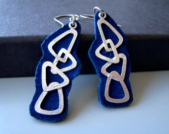 Geometry , soft  leather geometric dangling earrings with sterling silver ear wires