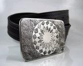 Mandala Belt Buckle - Etched Stainless Steel - Handmade