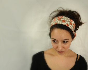 Reversible Fabric Headband / retro flowers and red checked