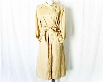 Vintage 80s Tan Rain Trench Coat M Military Epaulets Belted Knee Length Puff Sleeve