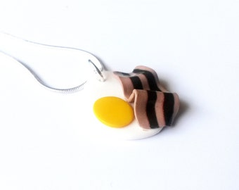 Fried Egg Necklace Bacon Necklace ( polymer clay miniature food kawaii jewelry mini food necklace  fried egg becon food jewellery )