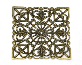 Filigree : 10 Antique Bronze Filigree Square Wraps Connectors | Bronze Metal Stampings | Links 40x40mm - Lead, Nickel & Cadmium free 14202.L