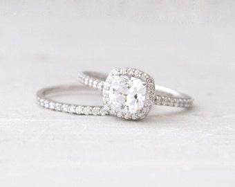 Cushion Cut Forever One Moissanite Conflict Free Diamond Halo Engagement Wedding Ring Set