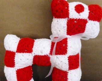 Handmade Crocheted Granny Square Red and White Dog Stuffed Animal or Pillow