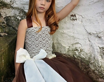 Ivory Lace and Chocolate Brown Bridal Wedding Flower Girl Top and Lined Tulle Skirt for Toddlers, Girls