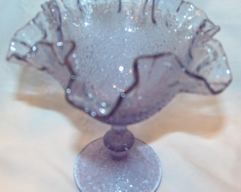Ruffled Fenton Compote Lavender Tree of Life Pattern