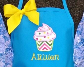 Personalized Kids Apron Cupcake Fabric Applique