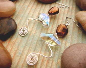 Amber luster earrings with sterling silver hammered wire waves and spirals // Amber Waves