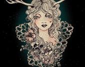 """Deer Girl - Original Artwork 8"""" x 10"""" Print"""