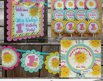 Fabulous Mini Birthday Party Package -Sunshine-Baby Shower -Birthday-Banner -Tags -Cupcake Toppers -Party Sign -You Are My Sunshine
