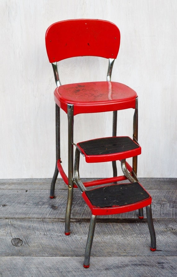 Red Cosco Stylaire Stepstool Chair Kitchen Stool Fold Out