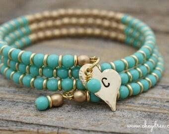 TURQUOISE BRACELET, Turquoise Jewelry, Personalized Turquoise and Gold Bangle Wrap Bracelet, Initial Jewelry, Initial Bracelet by Cheydrea