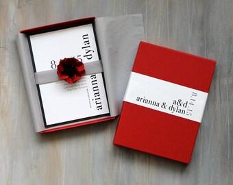 "Modern Luxury Box Wedding Invitations, Red Wedding, Elegant Box Invitation - ""Urban Elegance Box Invite"" Sample - NEW LOWER PRICE!"