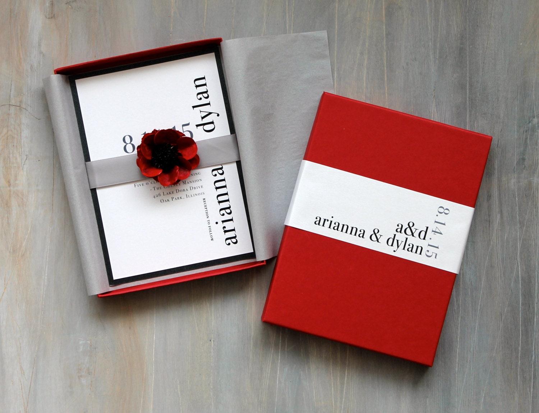 Modern Luxury Box Wedding Invitations Red Wedding Elegant