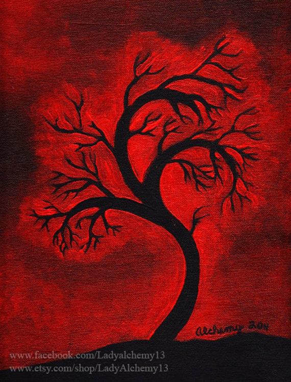 Red sky black tree silhouette signed print of original for Dark red paintings