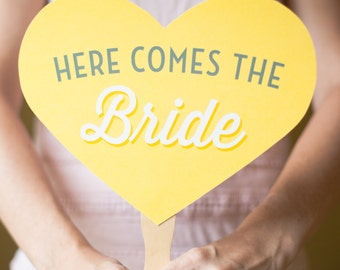 Here Comes The Bride - Heart Photo Prop - Customizable - Flower Girl