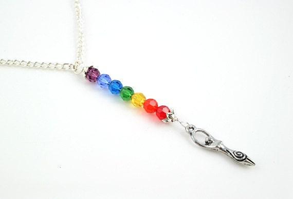 Seven Chakras, Rainbow pendant - Spiral Goddess - Swarovski crystals