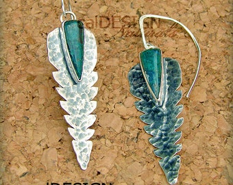 """Sterling Silver, Hand-fabricated, Silicated Malachite & Chrysocolla Sterling Silver """"Feather"""" Earrings - OOAK"""