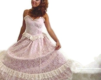 Vintage 80s Gunne Sax by Jessica McClintock Sweetheart Pink Satin Antique Lace Prom Party Dress, Size Extra Extra Small, Small XS  0 2