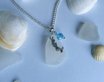 Mermaid necklace. Beach sea glass necklace.
