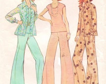 70s Womens Shirt-Jacket, Top & Wide Legged Pants in Half Sizes Simplicity Sewing Pattern 6668 Size 18 1/2 and 20 1/2 Bust 41 43