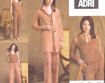 ADRI Womens Shirt-Jacket, Jacket Top & Pants Vogue American Designer Sewing Pattern V2851 Size 14 16 18 Bust 36 38 40 UnCut