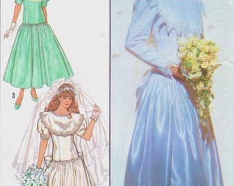 80s Gunne Sax Womens Wedding Dress  and Bridesmaid Dress Simplicity Sewing Pattern 9009 Jessica McClintock Size 20 Bust 42 UnCut