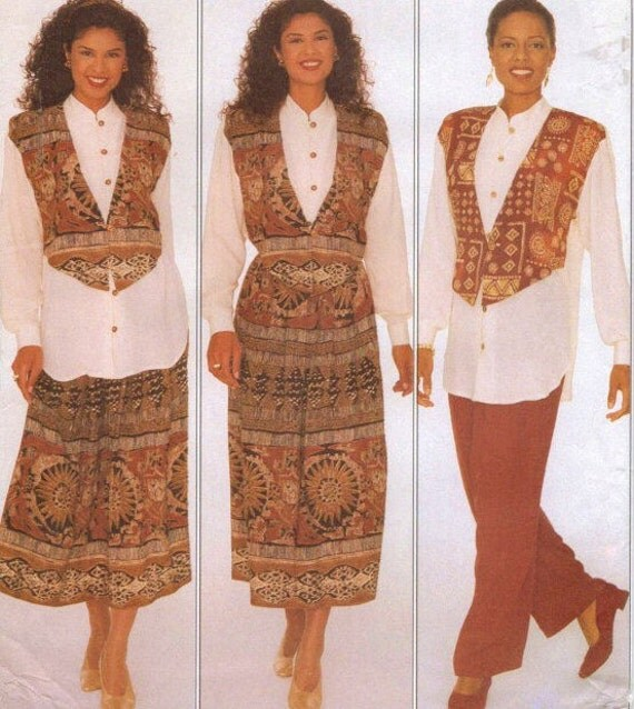 90s Anthony Mark Hankins Butterick Sewing Pattern 4093 Womens Tunic, Skirt & Pants Size 20 22 24 Bust 42 to 46 UnCut