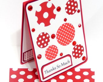 Thanks So Much Card with Matching Embellished Envelope- Red Polka Dots