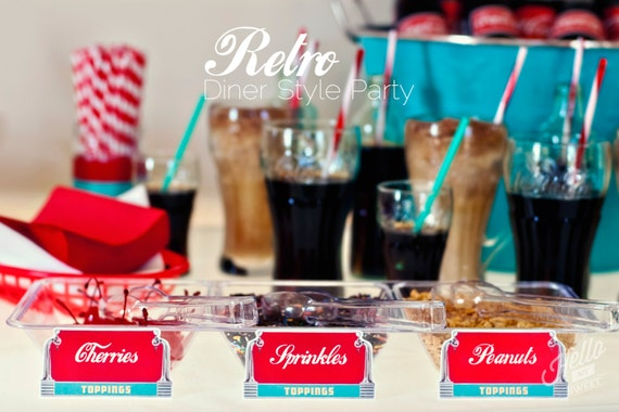 Retro Diner Party - Soda Float Party - Ice Cream Social - Printable Birthday Party Decorations