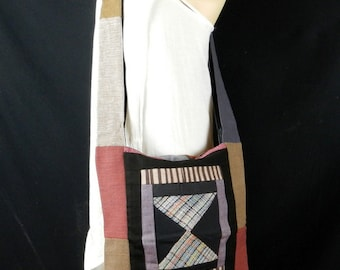 Hand Woven Cotton Bag Purse Hobo Hippie Sling Crossbody Messenger Patchwork Lined Multicolored Unisex PWS21