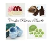 Crochet Pattern Bundle, Baby Boy Crochet Patterns, Crochet Pattern Collection, Crochet Baby Cowboy, Turtle Costume, Baby Booties, Crown Hat